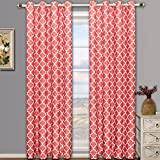 Meridian Coral Grommet Room Darkening Window Curtain Panels, Pair / Set of 2 Panels, 52x84 inches Each, by Royal Hotel
