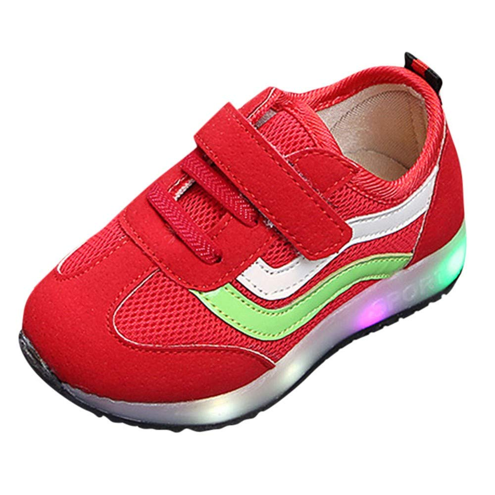 EnjoCho 12Months-6Years Kids Shoes for Boys Girl Children Casual Sneakers Baby Girl Air Mesh Breathable Soft Mesh Led Luminous Running Sports Shoe Age:5-5.5Years, Black