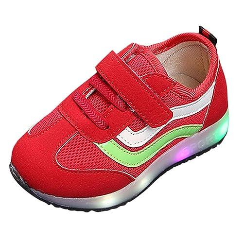 Zapatillas Luces Niña, ❤ Zolimx Niños Niñas Bebé Chicas de Malla de Rayas LED Luminoso Deportivo Zapatillas Botas Deportivas Niña: Amazon.es: Zapatos y ...