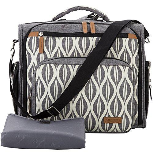 Lekebaby Convertible Diaper Bag Backpack for Mom with Waterproof Pocket, Grey