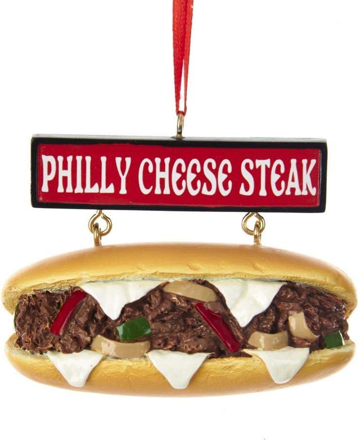 Kurt Adler Philly Cheese Steak Sandwich with Sign Ornament