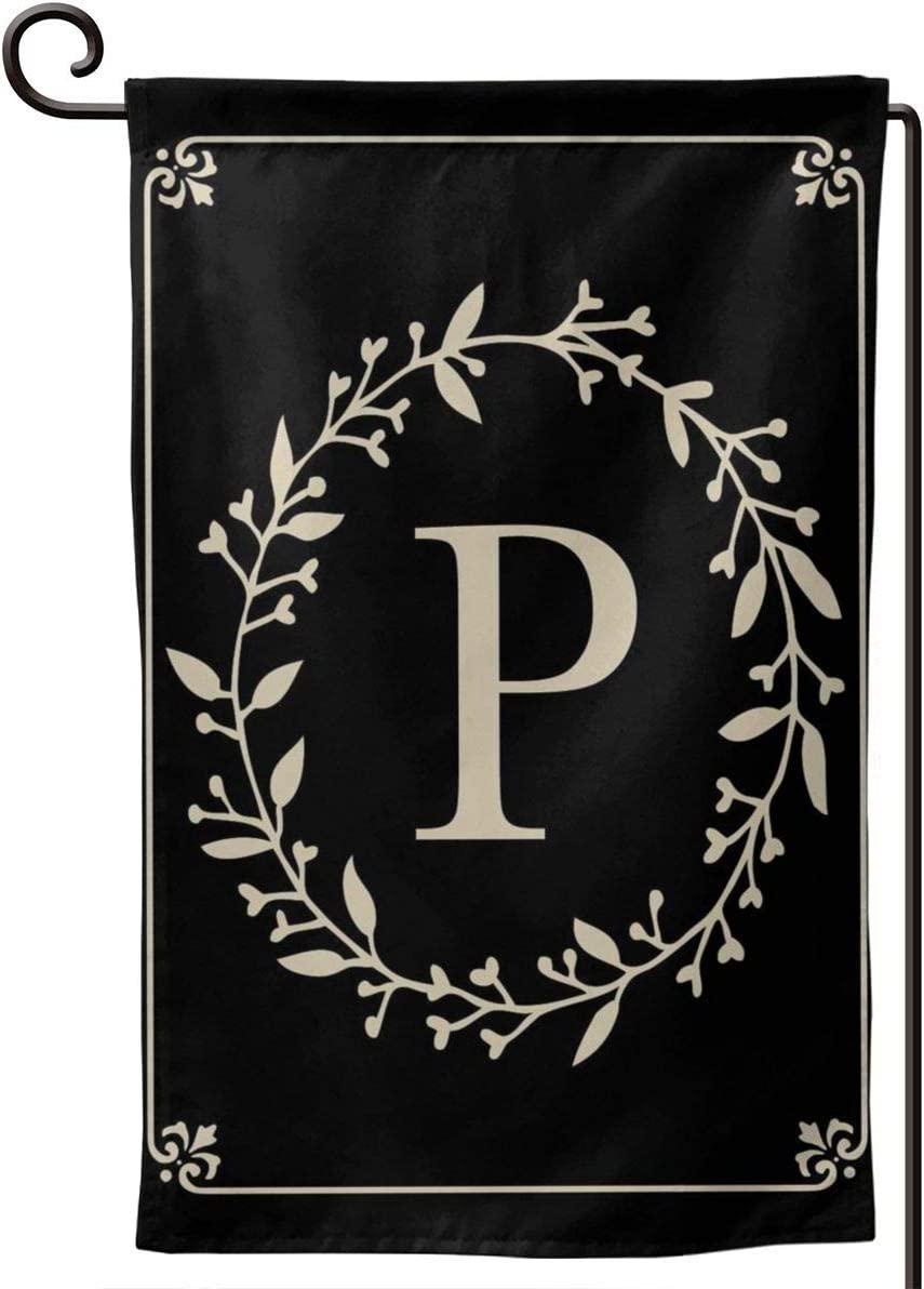 MSGUIDE Garden Flag Vertical Double Sided 12.5 X 18 Inch, Monogram Letter P Welcome House Flag Weather Resistant Banner for Seasonal Yard Outdoor Home Decor