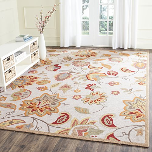 Safavieh Four Seasons Collection FRS413B Hand-Hooked Ivory and Yellow Indoor/ Outdoor Area Rug (8' x 10')