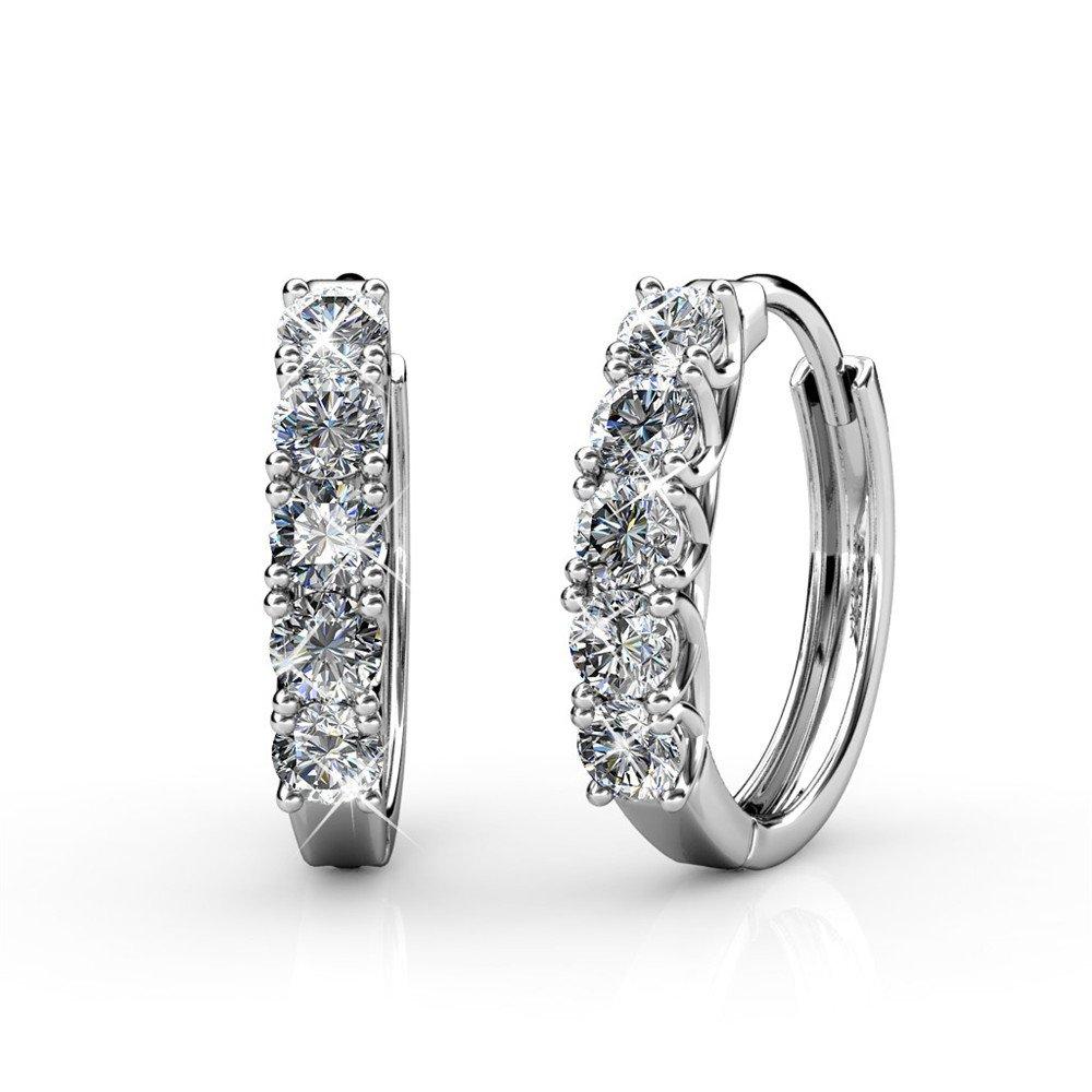 Cate & Chloe Bethany Strong White Gold Hoop Earrings, 18k Gold Hoop Earrings with Large Swarovski Crystals, Silver Hoop Earring Set for Women, Wedding Anniversary Jewelry, Hypoallergenic - MSRP $142