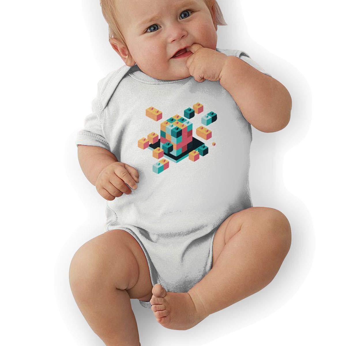 Newborn Baby Boys Bodysuit Short-Sleeve Onesie 3D Cubes Toys Print Jumpsuit Winter Pajamas