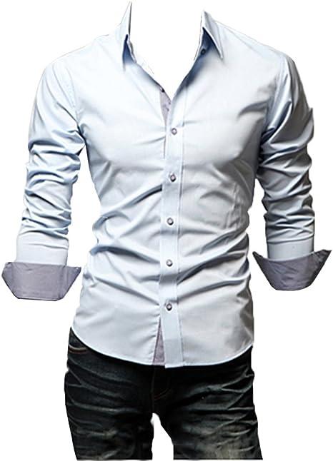 Guiran Camisa De Vestir Hombre De Manga Larga Sólido Estilo ...