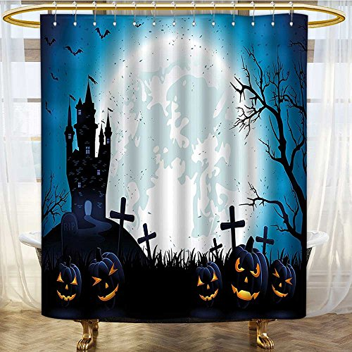 Shower Curtains with Shower Hooks Spooky with Halloween Icons Harvest Festival in Dark Blue Fabric Bathroom Set with Hooks W60 x H72 -