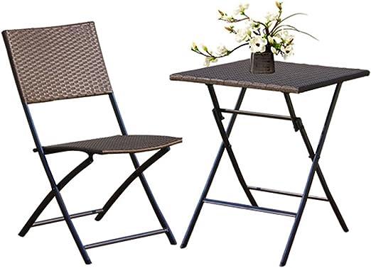 KLEDDP - Silla de Mimbre de Tres Piezas para balcón, Mesa y sillas ...