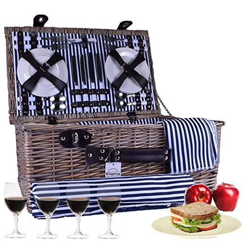 Bringalong Wicker Picnic Basket - 4 Setting w/ Blanket, Plates & Wine Glasses - Classic Tan