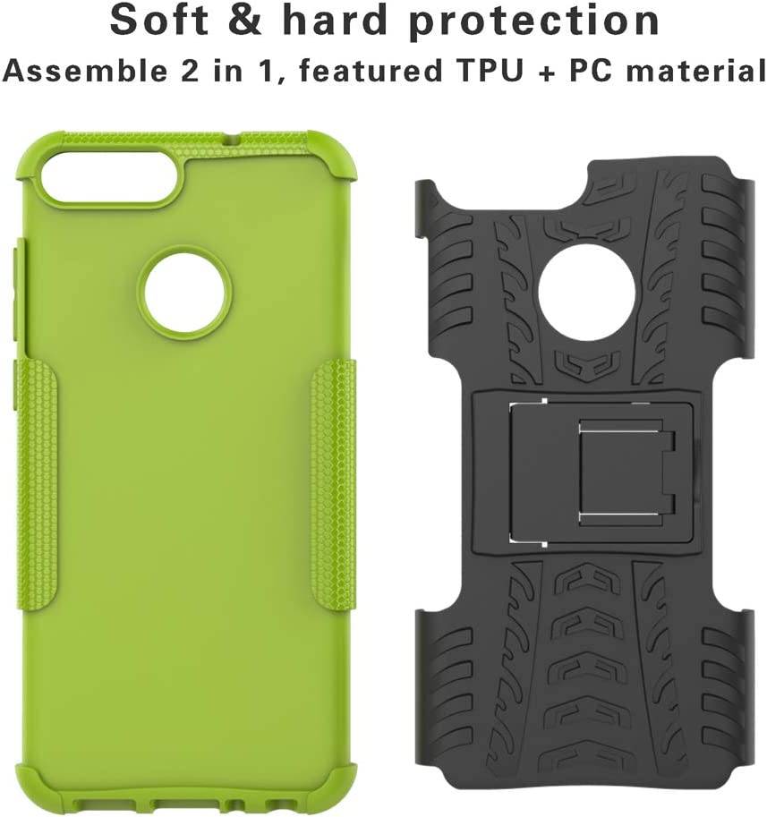 Etui Housse Coque Shockproof Robuste Impact Armure Hybride B/équille Cover pour Huawei P Smart-Rouge Labanema Huawei P Smart Coque