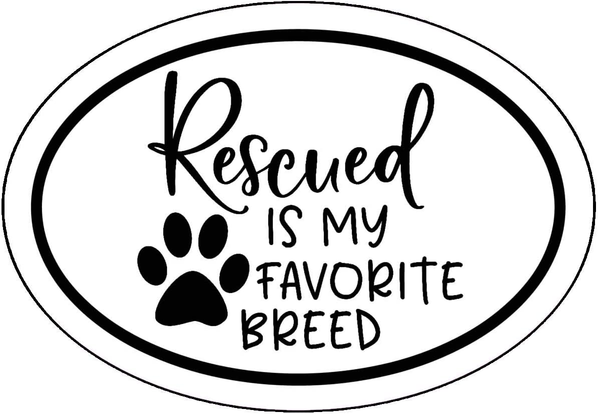 WickedGoodz Oval Rescued is My Favorite Breed Decal - Pet Paw Bumper Sticker - Perfect Dog Mom Gift