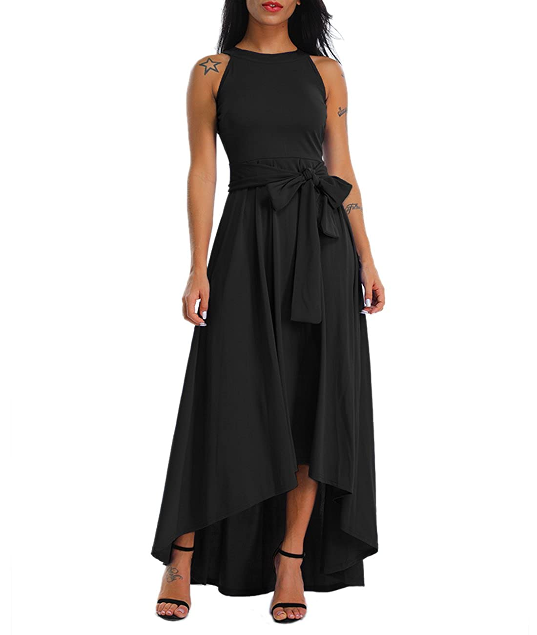 Lalagen Womens Plus Size Sleeveless Belted Party Maxi Dress with ...