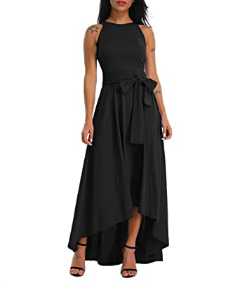 3ca0673685e Lalagen Womens Plus Size Sleeveless Belted Party Maxi Dress Cardigan Black S