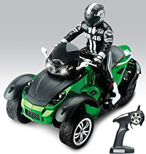 Haktoys High Speed Three Wheel RC MotoHawk Motorcycle   Radio Remote Control 2.4GHz, 1:10 Scale Vehicle   ATV Road Racer with LED Headlights   Safe and Durable Toy, Great Gift for Kids