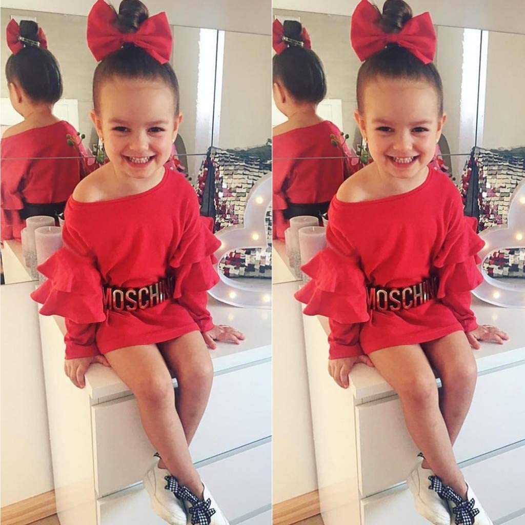 Sameno Fashion Toddler Kids Baby Girl Ruffled Princess Tops Dress Party Clothes Outfits