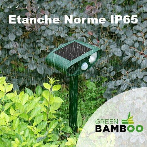 ⭐[Green Bamboo®] - Ahuyentador de gatos y perros por ultrasonido - Repulsivo solar por ultrasonidos (+ flash DEL + ruido disuasivo) contra animales: ...
