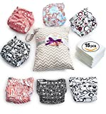 Kyпить Cloth Diapers - 15 pcs Set of 7 Baby Cloth Diaper Covers, 7 Reusable Diaper Inserts Liners, 1 Waterproof Carry Bag - All in One Pack - Unisex Pocket Design for Boys & Girls - Great for Baby Shower на Amazon.com
