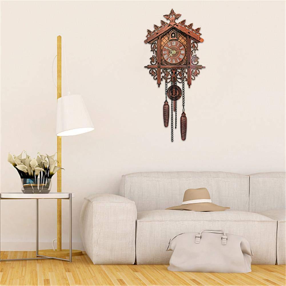 chic r/étro pendaison horloge murale d/écorative d/écor/ée /à piles salon d/écoration Coucou forme horloge murale vintage