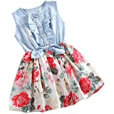 Covermason Baby Girls Toddler Kids Denim Splice Bowknot Floral Print Sleeveless Princess Party Dresses