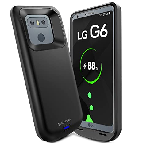 NEWDERY LG G6 Battery Case, 5000mAh Slim Wireless Charger Case,  Rechargeable Extended Charging Case with USB - C Port and Soft TPU Full  Protection