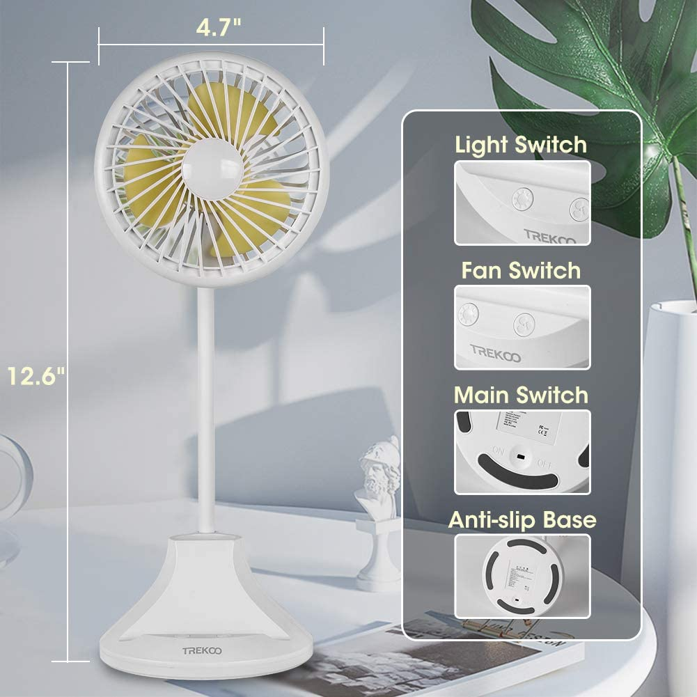 Desk Fan Lamp TREKOO 2600mAh Rechargeable Battery Powered USB Personal Fan 3 Speeds 3 Light Brightness Flexible Gooseneck Small LED Lamp Table Fan Compatible with Adapter PC Power Bank Car Charger