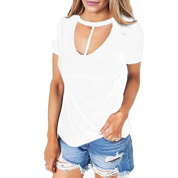 Tongshi Tapas De Algodón Mujeres Manga Corta Tanque Cultivo Corto Blusa T-shirt (XL, Blanco): Amazon.es: Ropa y accesorios