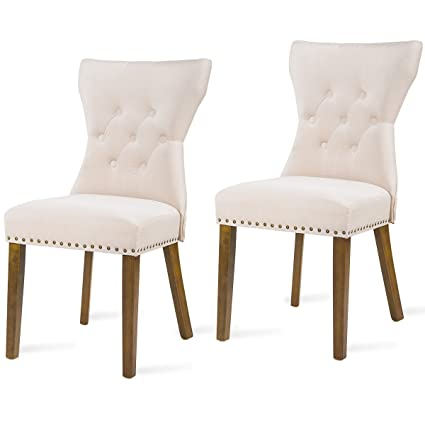 Harper Bright Design Dining Chair Tufted Upholstered Aceent Chair With  Solid Wood Legs, Set Of
