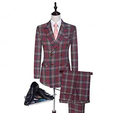 Maxudrs 2018 New Wool Plaid Wedding Suit Groom Tuxedos Double