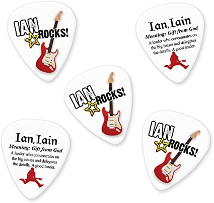 Ian Iain 5 x Púas para guitarra nombre significado: Amazon.es ...