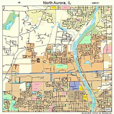 Amazon Com Image Trader Large Street Road Map Of North Aurora