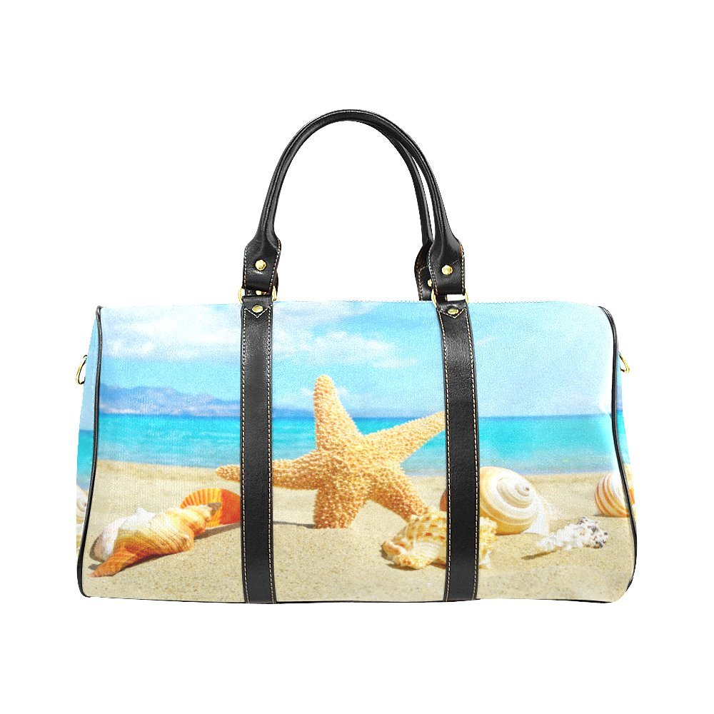 Summer Beach Starfish Shells Large Travel Duffel Bag Waterproof Weekend Bag with Strap