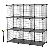 SONGMICS Metal Wire Storage Cubes, DIY 9-Cube Closet Cabinet and Modular Shelving Grids, Wire Mesh Shelves and Rack, Black, ULPI115H