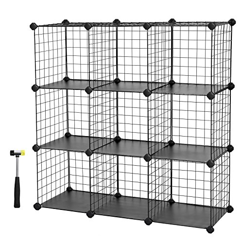 Mesh Shelving (SONGMICS Metal Wire Storage Cubes, DIY 9-Cube Closet Cabinet and Modular Shelving Grids, Wire Mesh Shelves and Rack, Black ULPI115H)