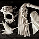 Dalliance Adult ® Upscale Handcuffs, Feather Tickler, Blindfold, Whip & Restraints for Sex Play - Classy Restraint Kit For Beginner Couples by Dalliance Adult. Gift Boxed..