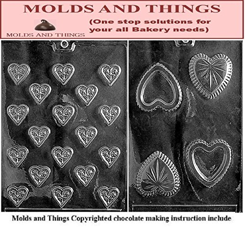 Heart with Flowers and heart pour box chocolate candy mold with © molding Instructions - Set of 2