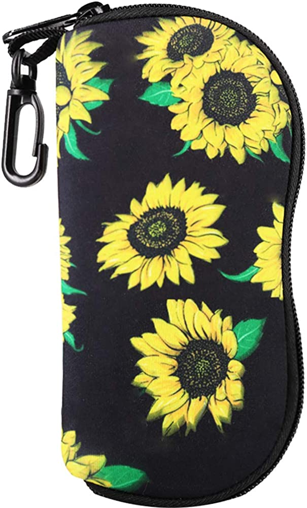 Sunflowers And Red Flower Sunglasses Soft Case Zipper Eyeglass Case Protective Holder With Belt Clip