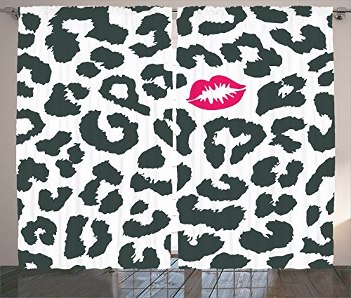 Safari Curtains by Ambesonne, Leopard Cheetah Animal Print with Kiss Shape Lipstick Mark Dotted Trend Artwork, Living Room Bedroom Window Drapes 2 Panel Set, 108 W X 90 L Inches, Black White Red