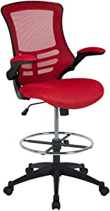 "Flash Furniture BL-X-5M-D-RED-GG Mid-Back Red Mesh Ergonomic Drafting Chair with Adjustable Foot Ring and Flip-Up Arms 24.5""W x 25.5""D x 43.25"" - 50.75""H"