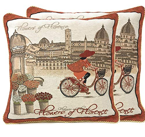 - Tache Decorative Accent Cushion Cover - Flowers of Florence- 18 Inch Orange Brown Red Burgundy Beige Square Vintage French Girl on a Bicycle Throw Pillow Covers - 2 Piece