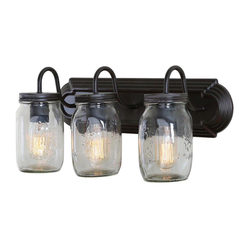 LNC Glass Jar Wall Sconces 3-Light Wall Lamp Sconces Vanity Lights by LNC
