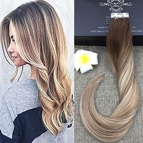 Beauty : Full Shine 20 inch Tape in Hair Extensions Human Hair Balayage Tape Hair Extensions Color #3 Dark Brown Fading to #8 and #22 Blonde Highlighted Glue Extensions