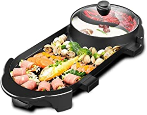 SEAAN Electric Hot Pot Indoor Korean BBQ Grill Shabu Shabu Pot with Divider, Non-Stick Pan,Separate Dual Temperature Control, 1-8 People Garthing, Upgraded Version, 110V