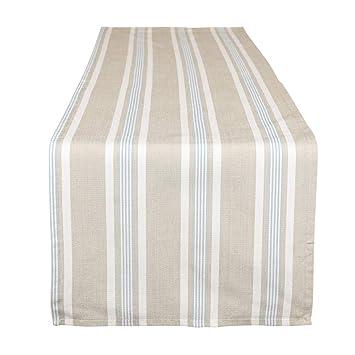 Dibor Tischläufer, Extra lang, Blau/Weiß gestreift, Baumwolle, blau ...