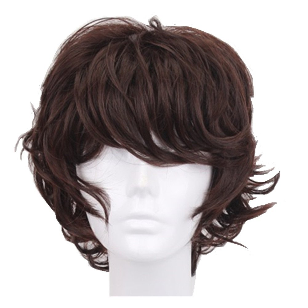 Amazon Com 13 Inch Dark Brown Short Curly Anime Cosplay Wigs With Bang For Men Costume Halloween Party Beauty