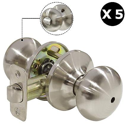 Solid Stainless Steel Satin Nickel Bedroom Bathroom Door Knobs Bedbath Privacy Door Knobs Keyless Interior Lockset With Pin Hole5 Pack