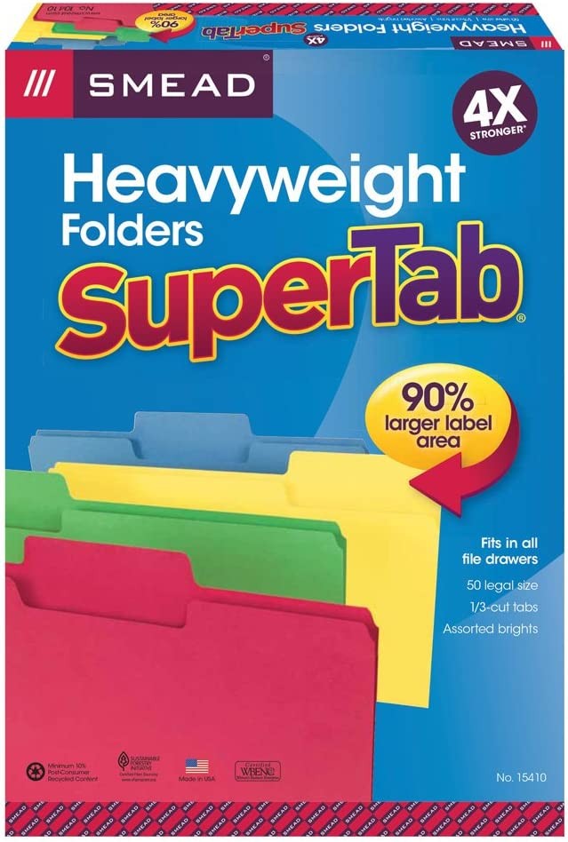 Smead SuperTab Heavyweight File Folder, Oversized 1/3-Cut Tab, Legal Size, Assorted Colors, 50 Per Box (15410) : Colored File Folders : Office Products