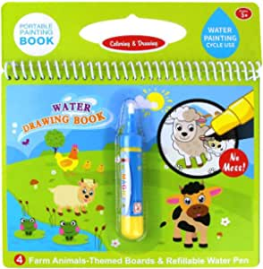 Jenilily Magic Water Drawing Book Coloring Book 7.48in X 7.87in Doodle with Magic Pen Painting Board for Children Education Drawing Toy 2355-62