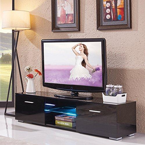 16' Remote Control Pedestal - Alek...Shop Home Entertainment Center High Gloss Furniture TV Stand Unit Cabinet Console Cabinet LED Shelves 2 Drawers