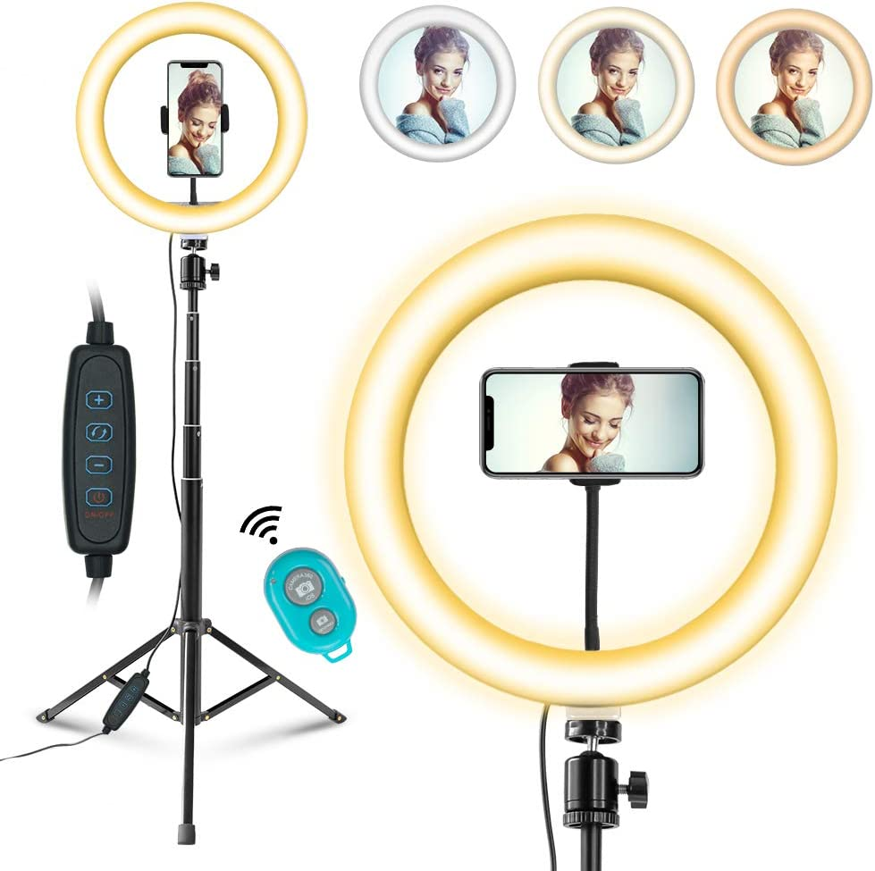 Selfie Ring Light ,3 Lighting Modes Adjustable Brightness Camera Circle Light Ring Light for Live Broadcast Makeup Photography YouTube Video etc Rechargeable Battery