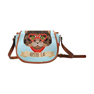 1a16b18af6be Amazon.com: InterestPrint Hipster Cat With Glasses and Bows Womens Saddle Shoulder  Bag Crossbody Sling Bag Travel Shopping Satchel: Shoes